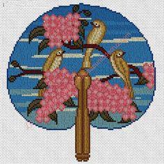Gráfico a punto de cruz - Abanico japonés 22 x 22 cm
