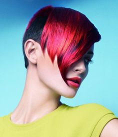 A short black straight coloured multi-tonal light-red  Defined-fringe Iconic hairstyle by Indola