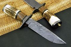 CUSTOM MADE DAMASCUS HUNTING KNIFE WITH WALNUT & STAG HORN HANDLE