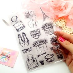 Set of 15 clear stamps - themed FRENCH LADY