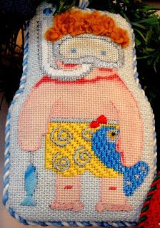 Fishy Frank needlepoint ornament at Pocket Full of Stitches.
