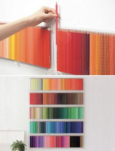 Colored pencils. How awesome would that be to have a wall in your studio, craft or art room filled with a rainbow of colored pencils?