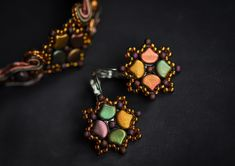 Colorful square beaded earrings handmade by nikuske Square Earrings, Bead Earrings, Bridal Earrings, Statement Earrings, Unique Earrings, Beautiful Earrings, Earrings Handmade, Unique Jewelry, Christmas Gift Inspiration