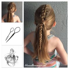 Dutch braided ponytail made with Topsy Tail from Goudhaartje.nl #braid #dutchbraid #ponytail #dutchbraidedponytail #featuremejehat #topsytail #hairaccesories #vlecht #opvlecht #haaraccessoires #hairstyle #haarstijl #goudhaartje