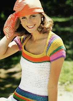 70s PDF Crochet Pattern Rainbow Sleeved Top by DivineDigital blusa de colores