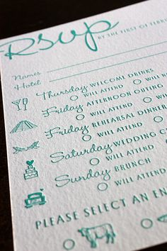 Wedding weekend, combined rsvp.... Perfect for out of town guests (in other words, my entire family)
