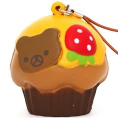 Rilakkuma bear muffin orange icing squishy cellphone charm