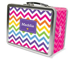 Personalized Rainbow Chevron Lunchbox #rainbow #chevron #personalized #lunch #box #school #gift #grandma #grandpa #christmas #birthday #special #order #unique #name #girl #pink #kids #affiliate