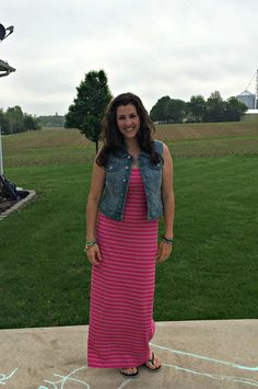 What I Wore: How to Wear a Denim Vest with a Dress #RealMomStyle - momma in flip flops