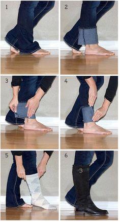 Paçalarınızı bu şekilde katlarsanız diz altı çizmeleri rahatlıkla giyebilirsiniz. - Sayfa: 1