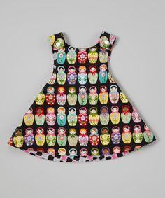 Another great find on #zulily! Black Matryoshka Reversible Dress - Infant, Toddler & Girls #zulilyfinds