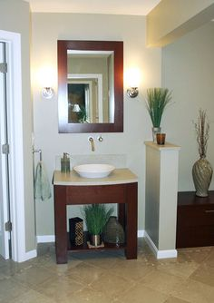 Cherry Wood Bathrooms Open Vanity With Granite Countertops And A Vessel Bowl Matching Framed