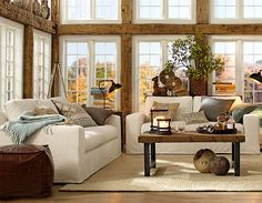 Ooh. I don't know about shopping the look, but those beams are AWESOME.  I love white walls, but they can look too stark for my taste.  This could be the answer! #potterybarn