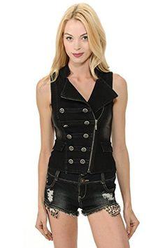 Sexy Denim Side Zipper Turndown Collar Biker Motor Jacket Vest >>> Click image for more details.
