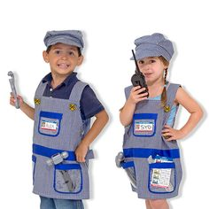 All aboard! Your little one will be for all the train adventures ahead with this Train Engineer Role Play Costume from Melissa and Doug!
