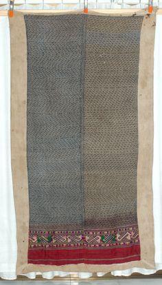 Large Tai Yai tribal textile blanket Indigo n by WaterAirIndustry