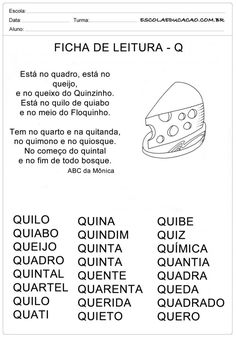 Ficha de Leitura Letra Q - Queijo Portuguese Lessons, Professor, Activities For Kids, Education, Reading Activities, Class Activities, Preschool Literacy Activities, Index Cards, Literatura