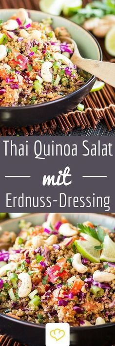 Healthy Food Inspiration: Delicious and quick Thai-Quinoa-Salat mit Erdnuss-Ingwer-Dressing. Veggie Recipes, Asian Recipes, Vegetarian Recipes, Cooking Recipes, Healthy Recipes, Healthy Food, Dinner Recipes, Cocina Light, Soul Food