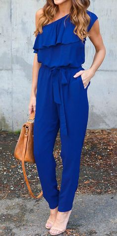 One Shoulder Ruffle Jumpsuit with Belt https://bellanblue.com/collections/new