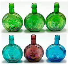 Wheaton Glass Presidents 6 Miniature Bottles Set  Vtg.