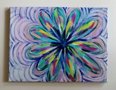 Handmade acrylic painting of an abstract, colorful flower pattern on a 12x16 canvas with purple painted edges. Canvas is ready to be hung or