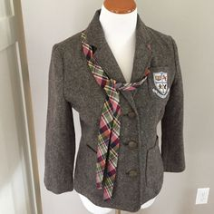 American Eagle Preppy Blazer & Tie Tweed button blazer with unattached tie- never worn. Adorable! American Eagle Outfitters Jackets & Coats Blazers