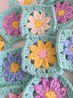 30 granny squares crochet flower centre pastel colours hand etsy quick and easy ribbed baby blanket crochet pattern video tutorial page 2 of 2 Granny Square Crochet Pattern, Crochet Flower Patterns, Crochet Squares, Crochet Blanket Patterns, Crochet Granny, Baby Blanket Crochet, Crochet Motif, Crochet Flowers, Crochet Cushions