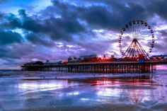 Photo listed in Fine Art Shot taken with Canon Mark II. 18 shares, 28 likes and 1540 views. Blackpool England, Photography Challenge, Beautiful Scenery, Places To Go, Fair Grounds, Challenges, Europe, Fine Art, Sunset