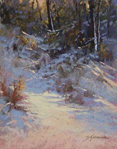 Evening Shadows Moving In by Barbara Jaenicke, Pastel, 10 x 8 Winter Landscape, Landscape Art, Landscape Paintings, Painting Snow, Winter Painting, Snow Scenes, Winter Scenes, Winter Pastels, Scenery Paintings