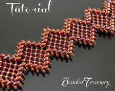 "Beaded bracelet pattern with Superduo and seed beads ""Rich Garnet  Lace"" / BEADING TUTORIAL ONLY"
