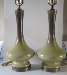 PAIR OF MID CENTURY MODERN GREEN CERAMIC DRIP GLAZE TABLE LAMPS WOW