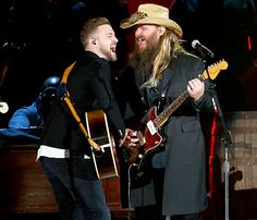 Justin Timberlake performs onstage with Chris Stapleton at the 49th annual CMA Awards