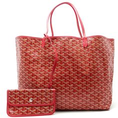GOYARD Auth Tote Bag Shoulder Saint Louis GM Red Leather Pouch Excellent #8493 #GOYARD #TotesShoppers