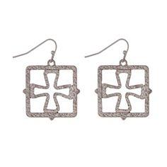 Wholesale silver fishhook earrings open square cut out cross