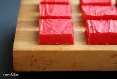 Red Velvet Fudge Recipe by I Am Baker.