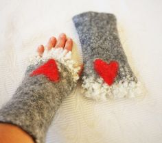Fingerless mittens Felted arm warmers with fur wool Mittens with hearts Norwegian wool  ------------------------------------------------------------------------------------ Hand felted from Norwegian crossbred sheep wool - light, stable wool and absorb little moisture.  Size : XS 15 cm / 6 inches S 18 cm / 7 inches M 20 cm / 8 inches L 23 cm / 9 inches XL 25.5 cm / 10 inches NB: The original mittens has been sold so new mittens will be similar, but not identical.  Woo... Fingerless Mittens, Wrist Warmers, Nuno Felting, Sheep Wool, Wool Felt, Arms, Christmas Gifts, Handmade, 6 Inches