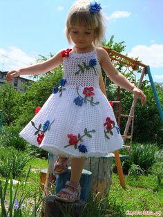 Baby Crochet Patterns Part 3 - Beautiful Crochet Patterns and Knitting Patterns Crochet Dress Girl, Crochet Baby Dress Pattern, Baby Dress Patterns, Crochet Baby Clothes, Baby Girl Crochet, Crochet For Kids, Crochet Lace, Crochet Patterns, Crochet Dresses