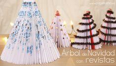 arbol de navidad reciclaje con revistas christmas tree magazine