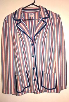 Vintage 1980s red blue and white striped Jacket by VintageTwists