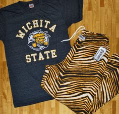Shocker Up! Vintage Wichita State tees and Black/Gold Zubaz pants available online now. Let the madness begin!