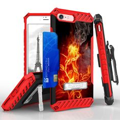 Tri Shield For Apple iPhone 7 Fire Roses, Belt Clip Holster