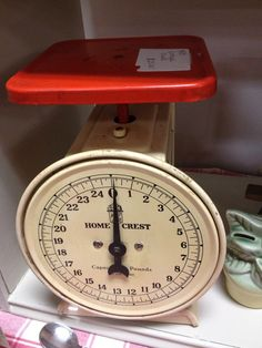 Vintage red and white scale spotted at Silk City Antiques, Manchester, CT Visit my blog http://cdiannezweig.blogspot.com/
