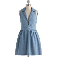 Lena Denim Dress (€58) ❤ liked on Polyvore featuring dresses, vestidos, denim, modcloth, blue denim dress, blue dress, stretch denim dress, stretch dresses and button front denim dress