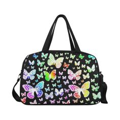 Rainbow Butterflies Fitness Handbag (Model 1671) Pictures Of Shoes, Ideal Image, Weekend Travel Bag, Shoulder Strap, Shoulder Bags, Custom Bags, Only Fashion, Gym Bag, Butterflies