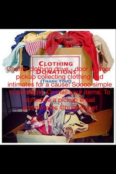Charity clothing donations drive for a cause we need your help donate your used clothing and intimates. PO Box 83 Sangerville, ME 04479 We Need You, Make A Donation, Used Clothing, Charity, Box, How To Make, Boxes