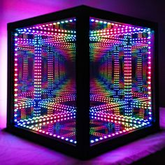 HyperCube: Trippy Hyper-Luminous Cube with 312 LEDs - Cool Gadgets & Gizmos - Infinity Lights, Infinity Mirror, Light Art, Lamp Light, Light Table, Nightmare Before Christmas Lamp, Photowall Ideas, Handmade Lamps, Stained Glass Lamps