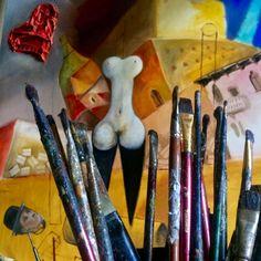 """Reggel a műtermünkben   Készülőben a """"BIZONYTALAN RANDEVÚ"""" c. festmény, melynek grafikai vázlata Őze Áron tulajdona, a Rómeó és Júlia premier ajándéka. Art Supplies, Paintings, Paint, Painting Art, Painting, Painted Canvas, Drawings, Grimm, Illustrations"""