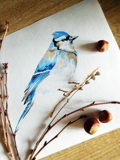Blue bird printable, watercolor bird, jay digital wallart, woodland nursery, nature painting, instant download, ornithology art, bird print