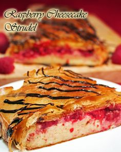 Raspberry Cheesecake Strudel is the best of 3 worlds! Raspberries & Cheesecake of course, but stuffed into a flaky buttery pastry strudel. Strudel Recipes, Bread Recipes, Breakfast Pastries, Fruit Dessert, Raspberry Cheesecake, Bakery Recipes, Trifles, Raspberries, Crepes