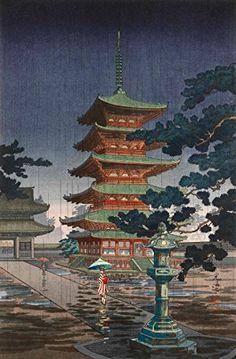 "Japanese Art Print ""Rain at Horyuji Temple, Nara"" by Tsuchiya Koitsu. Shin Hanga and Art Reproductions http://www.amazon.com/dp/B00VCG9NN6/ref=cm_sw_r_pi_dp_t7.swb0C7V2T9"